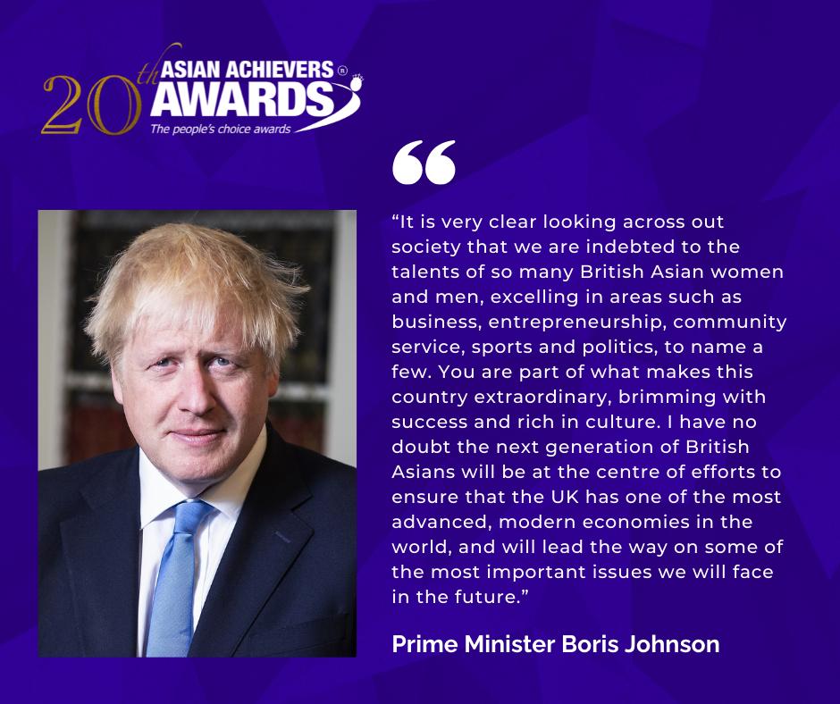 PM Boris Johnson quote for Asian Achievers Awards